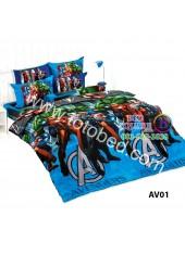 ผ้าปูที่นอน ผ้านวม ลายอเวนเจอร์ ชุดเครื่องนอน TOTO Avengers AV01 ชุดเครื่องนอน TOTO