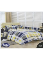 ผ้าปูที่นอนซาติน ผ้านวม ลายทางตาราง พื้นเหลือง น้ำเงิน เทา ชุดเครื่องนอน D82