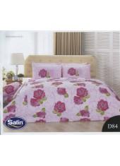 ผ้าปูที่นอนซาติน ผ้านวม ลายดอกไม้ พื้นสีชมพู ชุดเครื่องนอน D84