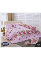 ผ้าปูที่นอนซาติน ผ้านวม ลายดอกกุหลาบ พื้นสีชมพู ชุดเครื่องนอน D87
