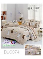 ผ้าปูที่นอนทิวลิป ผ้านวม ลายหมาจ๋า DLC074 ชุดเครื่องนอน Tulip
