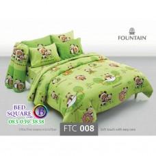 ชุดเครื่องนอนลายริลัคคุมะ Rilakkuma สีเขียว Fountain ผ้าปูที่นอน ผ้านวมฟาวเท่น FTC008