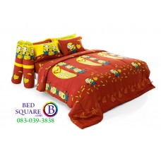 ชุดเครื่องนอนลายมินเนี่ยน Minion สีน้ำตาล Fountain ผ้าปูที่นอน ผ้านวมฟาวเท่น FTC039