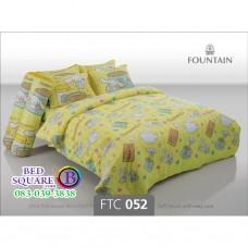 ชุดเครื่องนอนลายซินนามอนโรล Cinnamoroll สีเหลือง Fountain ผ้าปูที่นอน ผ้านวมฟาวเท่น FTC052