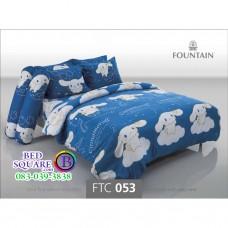 ชุดเครื่องนอนลายซินนามอนโรล Cinnamoroll สีน้ำเงิน Fountain ผ้าปูที่นอน ผ้านวมฟาวเท่น FTC053