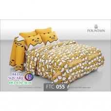ชุดเครื่องนอนลายไข่ขี้เกียจ Gudetama สีเหลือง Fountain ผ้าปูที่นอน ผ้านวมฟาวเท่น FTC055
