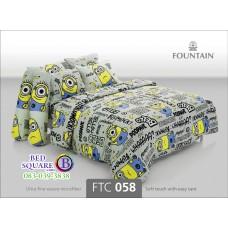 ชุดเครื่องนอนลายมินเนี่ยน Minion สีเทา Fountain ผ้าปูที่นอน ผ้านวมฟาวเท่น FTC058
