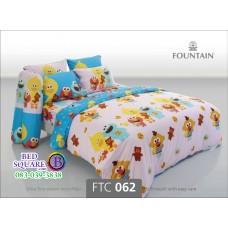 ชุดเครื่องนอนลายเซซามี สตรีท Sesame Street สีชมพู Fountain ผ้าปูที่นอน ผ้านวมฟาวเท่น FTC062