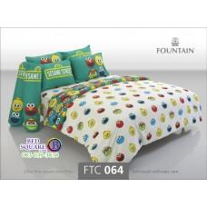 ชุดเครื่องนอนลายเซซามี สตรีท Sesame Street สีขาว Fountain ผ้าปูที่นอน ผ้านวมฟาวเท่น FTC064