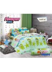 ชุดผ้าปูที่นอน ผ้าปูที่นอนผ้านวมลาย Powerpuff Girls SATIN PK074