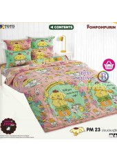 ผ้าปูที่นอนผ้านวมลายปอมปอมปูริน Pom Pom Purin PM23 ชุดเครื่องนอน TOTO