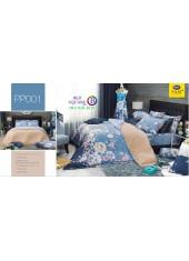 ชุดเครื่องนอนลายดอก พื้นสีฟ้า PP001 Satin Plus ผ้าปูที่นอน ผ้านวมซาตินพลัส