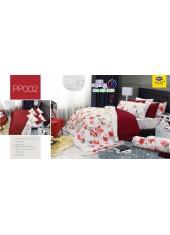 ชุดเครื่องนอนลายดอก พื้นขาว แดง PP002 Satin Plus ผ้าปูที่นอน ผ้านวมซาตินพลัส