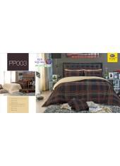 ชุดเครื่องนอนลายตาราง สีน้ำตาล PP003 Satin Plus ผ้าปูที่นอน ผ้านวมซาตินพลัส