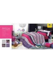 ชุดเครื่องนอนลายตาราง สีชมพู ขาว PP004 Satin Plus ผ้าปูที่นอน ผ้านวมซาตินพลัส