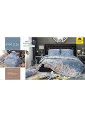 ชุดเครื่องนอนลายกราฟฟิค พื้นเทา PP008 Satin Plus ผ้าปูที่นอน ผ้านวมซาตินพลัส