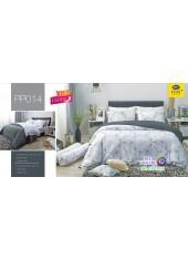 ชุดเครื่องนอนลายกราฟฟิค พื้นสีขาว PP014 Satin Plus ผ้าปูที่นอน ผ้านวมซาตินพลัส
