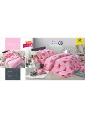 ชุดเครื่องนอนลายดอก พื้นสีชมพู PP017 Satin Plus ผ้าปูที่นอน ผ้านวมซาตินพลัส