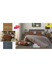 ชุดเครื่องนอนลายตาราง พื้นสีน้ำตาล PP018 Satin Plus ผ้าปูที่นอน ผ้านวมซาตินพลัส