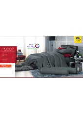 ชุดเครื่องนอน Satin Plus ผ้าปูที่นอน ผ้านวมซาตินพลัส PS007 สีเทา