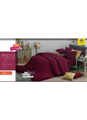 ชุดเครื่องนอน Satin Plus ผ้าปูที่นอน ผ้านวมซาตินพลัส PS012 สีแดงเลือดหมู
