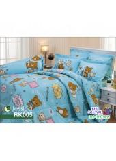 ผ้าปูที่นอนผ้านวม กันไรฝุ่น กันภูมิแพ้ ลายริลัคคุมะ Rilakkuma RK005 พื้นสีฟ้า Jessica
