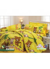 ผ้าปูที่นอนผ้านวม กันไรฝุ่น กันภูมิแพ้ ลายริลัคคุมะ Rilakkuma RK006 พื้นสีเหลือง Jessica