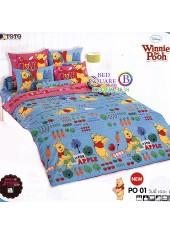 ผ้าปูที่นอนผ้านวมลายการ์ตูนหมีพูห์ Pooh Bear PO01 ชุดเครื่องนอน TOTO