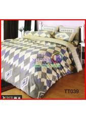 ผ้าปูที่นอนผ้านวมลายตารางข้าวหลามตัด สีน้ำตาล เทา ชุดเครื่องนอน TOTO