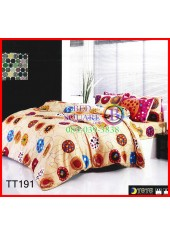 ผ้าปูที่นอนผ้านวมลายเส้นวงกลมพื้นสีน้ำตาล ชุดเครื่องนอน TOTO
