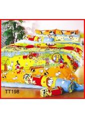 ผ้าปูที่นอนผ้านวมลายการ์ตูนสัตว์ในฟาร์มพื้นสีน้ำตาล ชุดเครื่องนอน TOTO
