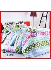 ผ้าปูที่นอนผ้านวมลายจุดและลายทาง สีชมพู เขียว ฟ้า ชุดเครื่องนอน TOTO