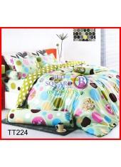 ผ้าปูที่นอนผ้านวมลายจุด และวงกลมดอกไม้ พื้นสีเขียว ชุดเครื่องนอน TOTO