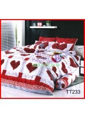 ผ้าปูที่นอนผ้านวมลายตารางหัวใจสีแดง ดอกไม้สีแดง ชุดเครื่องนอน TOTO