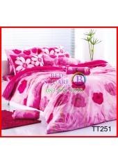 ผ้าปูที่นอน ผ้านวม ลายดอกป๊อปปี้สีแดง ชมพู ชุดเครื่องนอน TOTO