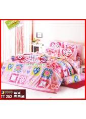 ลายยกเลิก - ผ้าปูที่นอนผ้านวมลายตารางหัวใจสีชมพูมีดอกไม้ตรงกลางชุดเครื่องนอน TOTO