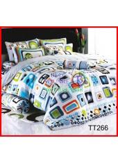 ผ้าปูที่นอนผ้านวมลายสี่เหลี่ยมคละสี พื้นสีขาว ชุดเครื่องนอน TOTO