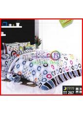 ผ้าปูที่นอนผ้านวมลายวงกลมโดนัทคละสี พื้นสีขาว ชุดเครื่องนอน TOTO