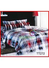 ผ้าปูที่นอนผ้านวมลายตารางดำแดง พื้นสีขาว ชุดเครื่องนอน TOTO