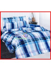 ลายยกเลิก - ผ้าปูที่นอนผ้านวมลายตารางน้ำเงินฟ้า ไล่โทนสี ชุดเครื่องนอน TOTO