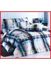 ลายยกเลิก - ผ้าปูที่นอนผ้านวมลายตารางน้ำตาล ไล่โทนสี ชุดเครื่องนอน TOTO