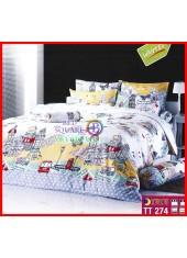 ผ้าปูที่นอนผ้านวมลายการ์ตูนบ้านเมืองต่างประเทศสีขาวชุดเครื่องนอน TOTO