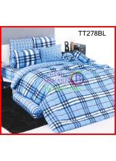 ผ้าปูที่นอนผ้านวมลายตารางใหญ่สีฟ้าน้ำเงินคาดขาว ชุดเครื่องนอน TOTO