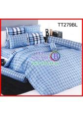 ผ้าปูที่นอนผ้านวมลายตารางสก๊อตเล็กสีฟ้าน้ำเงินชุดเครื่องนอน TOTO