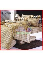 ผ้าปูที่นอนผ้านวมลายตารางสก๊อตเล็กน้ำตาล Burberry ชุดเครื่องนอน TOTO