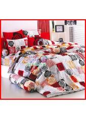 ลายยกเลิก - ผ้าปูที่นอนผ้านวมลายตารางรูปวาดดอกกุหลาบคละสีชุดเครื่องนอน TOTO