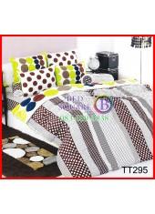 ผ้าปูที่นอนผ้านวมลายทางจุดสีน้ำตาลพื้นขาวชุดเครื่องนอน TOTO