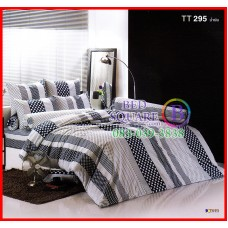 ลายยกเลิก - ผ้าปูที่นอนผ้านวมลายทางจุดสีน้ำเงินพื้นขาวชุดเครื่องนอน TOTO