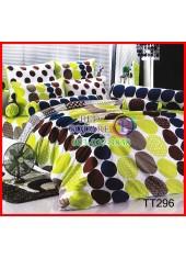 ผ้าปูที่นอนผ้านวมลายจุดสีน้ำตาลเขียวพื้นขาวชุดเครื่องนอน TOTO