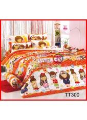 ผ้าปูที่นอนผ้านวมลายการ์ตูนเด็กผู้หญิงโทนสีส้มชุดเครื่องนอน TOTO